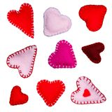 Small felt hearts Stock Image