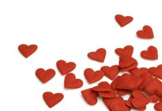 Red Hearts. Small felt hearts on white background Royalty Free Stock Photo