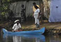 Small Ferry in the backwaters of Kerala, India Stock Images