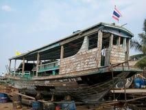 Small ferry at dockyard Stock Image