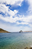 Small ferry on the sea Stock Image
