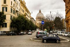 Small Fiat car on the streets of Rome near San Pietro in the Vatican Royalty Free Stock Photography