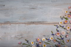 Small field flowers on vintage weathered wooden background. Retro styled floral background. Stock Images