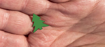 A small figure of a green Christmas tree on the palm of the girl. Stock Images