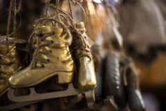 The small figure skates for skating Royalty Free Stock Images
