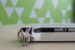 Small figure wedding with car Royalty Free Stock Photography