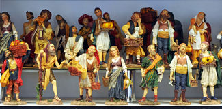 Small figures of Belen, Christmas market Royalty Free Stock Image