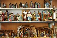 Small figures of Belen, Christmas market Stock Photography