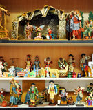 Small figures of Belen, Christmas market Stock Images