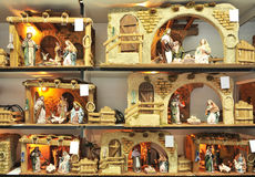 Small figures of Belen, Holy Family, Christmas market Royalty Free Stock Image