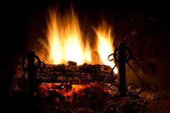 Small Fire. Seasonal and holiday - Fire in the fireplace stock image