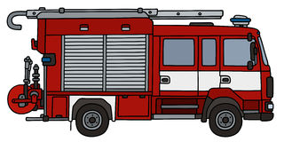 Small fire truck. Hand drawing of a fire truck - not a real type Stock Photos