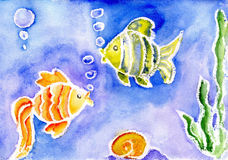 A small fish. Watercolor of a small fish Stock Photography