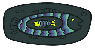 Small fish in a big fish. Vector illustration of a big fish eating small fish Stock Images