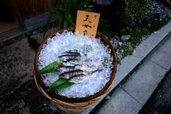 Small fish for grilling at Japanese street vendor Stock Photos