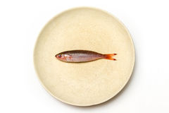 A small fish on white plate Royalty Free Stock Photography