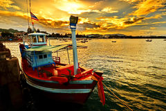 Small Fisherman Boats In The Sea Stock Image