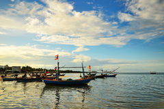 Small fisherman boats in the sea Royalty Free Stock Images