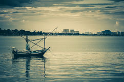 Small fisherman boats in the sea Stock Images