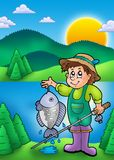 Small fisherman with fish. Color illustration Royalty Free Stock Images
