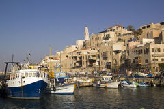 Small Fishermans Ships old Jaffa Port .Israel Royalty Free Stock Photos