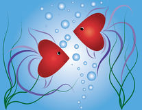 Small fishes-hearts Royalty Free Stock Images