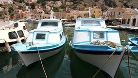 Small boat in Symi island stock video