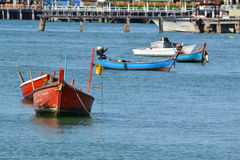 Small fishing boat. In sea Royalty Free Stock Photo