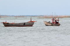 Small fishing boat. In sea Royalty Free Stock Images