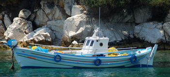 Small fishing boat. Old traditional fishing boat in Greece Stock Image