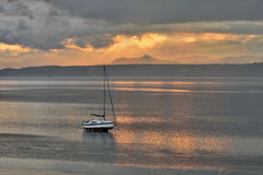 Small fishing boat, on the beach, of Scotland. UK Royalty Free Stock Image