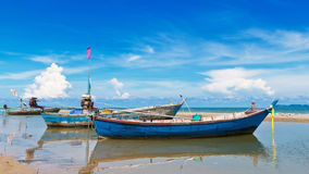 Small fishing boat at beach Stock Photos
