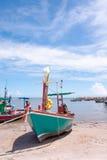 Small fishing boat on beat Royalty Free Stock Photo