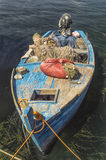 Small fishing boat with fishing net Stock Image