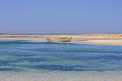 small fishing boat at lagoon Balos Stock Photo