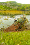 Small Fishing Boat Moored at a Jetty, Harris, Scotland. A small fishing boat moored to a jetty covered with brown sea weed.  At the end is a lifting device. The Royalty Free Stock Image