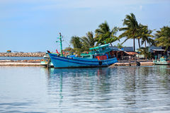 Small fishing boat, Phu Quoc island in Vietnam. Royalty Free Stock Photography