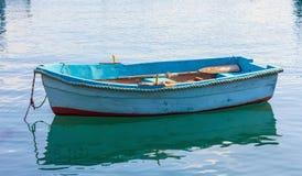 Small fishing boat at the port of Marsaxlokk, Malta. Closeup view stock images