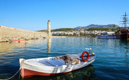 Small fishing boat at port of Rethimno town on Crete island.  Stock Photo