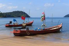 Small fishing Boat on Saidam Beach Stock Photo