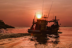 Small fishing boat in the sea Royalty Free Stock Images