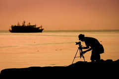 Small fishing boat in the sea Stock Image