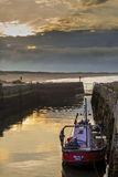 Small Fishing Boat in Seaton Sluice Harbour. Stock Photos
