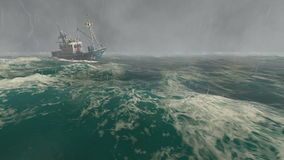 Small fishing boat in the stormy sea stock video