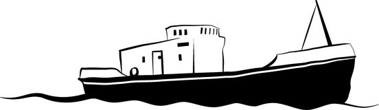 Small fishing boat. Vector drawing of small old fishing boat Stock Photos