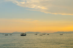 Small fishing boats anchor near bay Royalty Free Stock Images