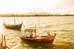 Small fishing boats on the beach Stock Photo