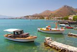 Small fishing boats on the coast of Crete. Greece Stock Photography