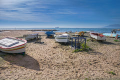 Small fishing boats on Costa del Sol Stock Photos