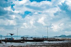 Small fishing boats in dam royalty free stock photos